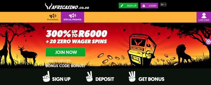 Africasino home page