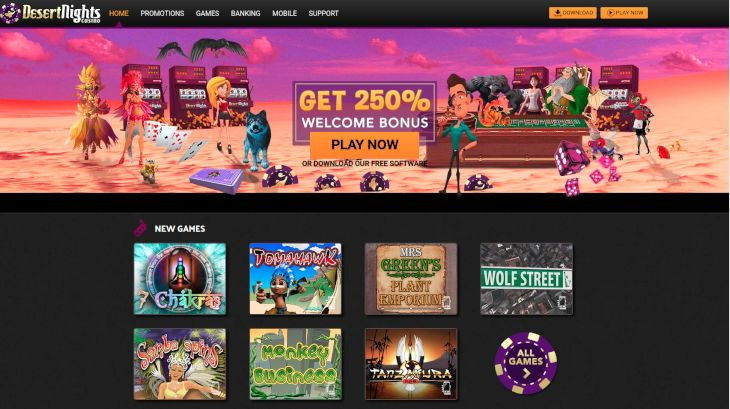 Desert Night Casino home page