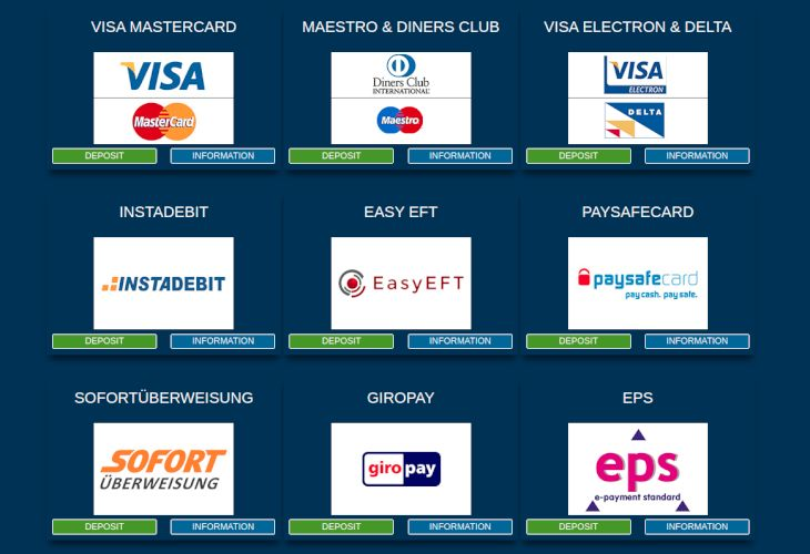 Europa Casino payment methods