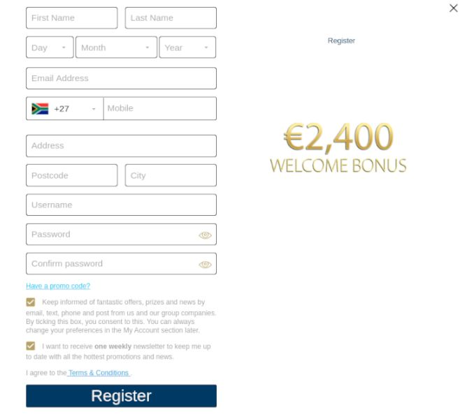 Europa Casino registration