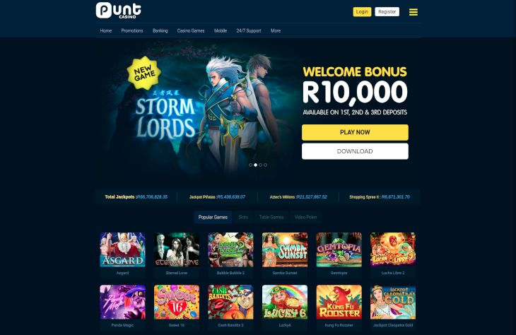 Punt Casino home page